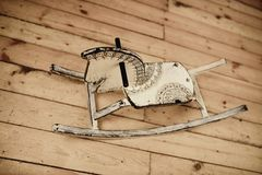 Classic homemade wooden rocking horse Stock Photography