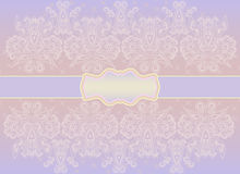 Classic horizontal  monochrome card  . Vector print. Beautiful symmetrical  pattern, delicate lilac and pink   background. Use for greeting card, birthday card Stock Photos