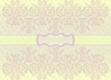 Classic horizontal  monochrome card  . Vector print. Beautiful symmetrical  pattern, delicate yellow   background. Use for greeting card, birthday card Stock Photos