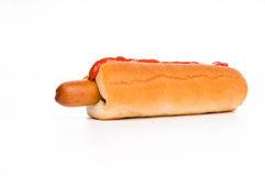 Classic hot-dog with ketchup Royalty Free Stock Photos
