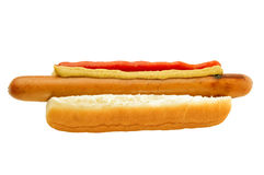 Classic hot-dog with ketchup and mustard Stock Image
