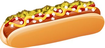 Classic hot dog with ketchup, mustard, onions, relish. A hot dog in a bun topped with ketchup, mustard, onions, and pickle relish. Isolated  illustration Stock Photography