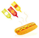 Classic hot dog with sauces. A classic hot dog with mustard, ketchup and mayonnaise isolated over white Royalty Free Stock Images