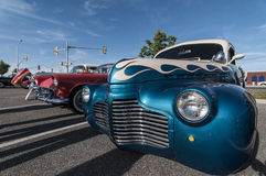 Classic hot rod cars. On exhibition along the street royalty free stock photos