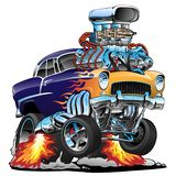 Classic hot rod muscle car, flames, big engine, cartoon vector illustration. Awesome old school 1955 style hotrod, popping a wheelie, huge chrome engine, classic royalty free illustration