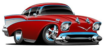 Classic hot rod 57 muscle car, low profile, big tires and rims, candy apple red, cartoon vector illustration. Awesome old school 1957 style hotrod, low and mean stock illustration