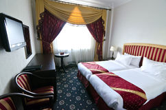 Classic hotel room. Room for two in an elegant hotel of Moscow, Russia Royalty Free Stock Images