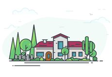 Classic house with garden. Big classic house surrounded with trees. Green park or garden. Real estate cottage background for banner. Modern line vector vector illustration