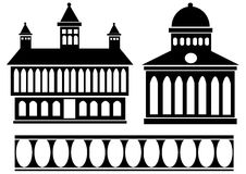 Classic house icon set isolated on white Stock Photos