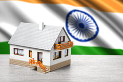 Classic house on Indian flag background. Classic house against Indian flag background stock photos