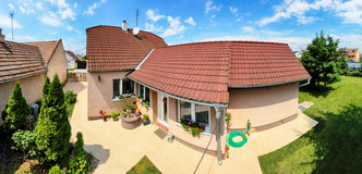 Classic house with large front lawn, Panorama Royalty Free Stock Photography