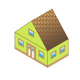 Classic house in perspective view. Cottage in a classic style with a loft and a roof window. House with green walls and brown roof in perspective view. Cottage Stock Image