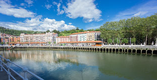 Classic houses along Nervion river in Bilbao Royalty Free Stock Photography