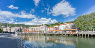 Classic houses along Nervion river in Bilbao Stock Photo