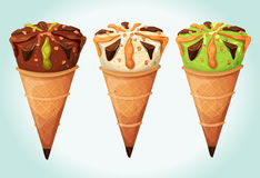 Classic Ice Cream Cones Set. Illustration of an appetizing set of cartoon icecream inside wafer cones, with flavors of vanilla, chocolate, mint or pistachio, for Stock Photography
