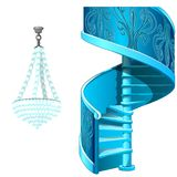 Classic Ice Spiral Staircase And Crystal Chandelier. Decorative Frozen Interior Elements. Vector Isolated On White Royalty Free Stock Photos