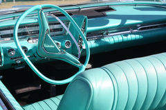 Classic Imperial. Blue interior of a restored classic Chrysler Imperial at a car show Royalty Free Stock Photo