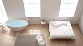 Classic industrial modern bedroom with big windows, brick wall, parquet floor and bathtub, white architecture interior design, top. View Stock Image