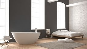 Classic industrial modern bedroom with big windows, brick wall, parquet floor and bathtub, white and gray architecture interior de. Sign Stock Photos