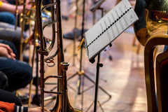 Classic instrument trombone. Close view on the classic instrument trombone Stock Photos