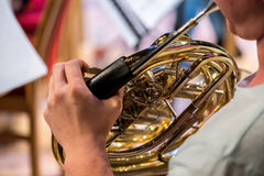 Classic instrument trombone. Close view on the classic instrument trombone Royalty Free Stock Photos