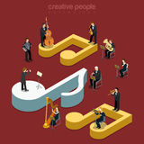 Classic instrumental orchestra concert flat isometric vector 3d. Classic instrumental orchestra concert flat 3d isometry isometric music show concert concept web Royalty Free Stock Image