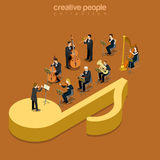 Classic instrumental orchestra concert flat isometric vector 3d. Classic instrumental orchestra concert flat 3d isometry isometric music show concert concept web Stock Image