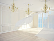 Classic interior. An interior of a room with white flowing curtains and chandeliers. 3D render Royalty Free Stock Photography
