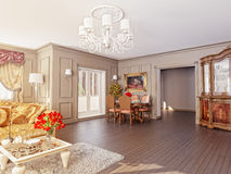 Classic interior. Modern classic interior (3D rendering Royalty Free Stock Photos