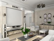 Classic interior. Living-room with the classic furniture. 3D render. Living-room Stock Photos