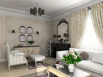 Classic interior. Living-room with the classic furniture. 3D render. Living-room Royalty Free Stock Images