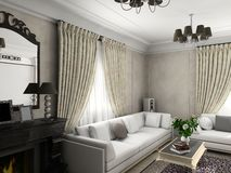 Classic interior. Living-room with the classic furniture. 3D render. Living-room Stock Image