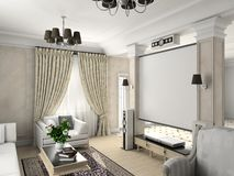 Classic interior. Living-room with the classic furniture. 3D render. Living-room stock illustration