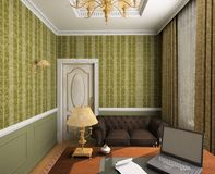 Classic interior. 3D render Royalty Free Stock Image