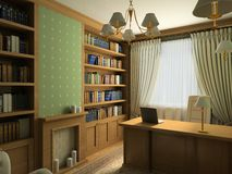 Classic interior. 3D render stock illustration