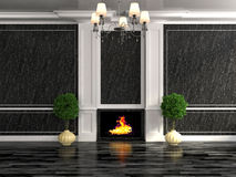 Classic interior in black with fireplace and plant. 3D illustration Stock Photo