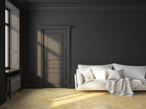 Classic interior black sofa. Classic scandinavian interior design black with sofa and pillows. 3D render illustration mock up Stock Image