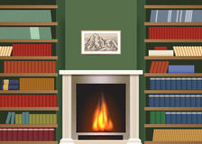 Classic interior with book shelves Royalty Free Stock Photo