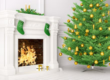 Classic interior with christmas tree and fireplace 3d rendering. Classic interior of a room with christmas fir tree, fireplace,gifts,candles,stockings 3d Royalty Free Stock Image