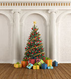 Classic interior with christmas-tree and ionic column Royalty Free Stock Photo