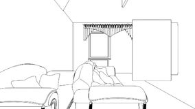 Classic interior creation, wireframe stock footage