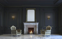 A classic interior is in dark tones with fireplace. 3d rendering. A classic interior is in dark tones with armchairs and fireplace. 3d render Stock Image