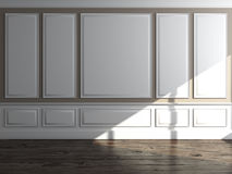 Classic interior with daylight. Classic interior with panels and daylight. 3d render Stock Photo