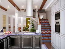 Classic interior design of dining room and kitchen. With white and black facades, white brick wall and blue accents. 3d illustration Stock Image