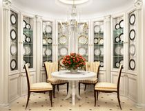 Classic interior design kitchen white. Dining room royalty free stock photography
