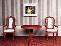 Classic interior design with two chairs Stock Photography