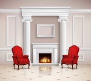 Classic Interior With Fireplace And Armchairs Royalty Free Stock Image
