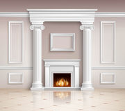Classic Interior With Fireplace Design Stock Photo