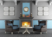 Classic interior with fireplace Royalty Free Stock Photos