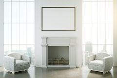 Classic interior with fireplace. Front view of classic interior with blank picture frame, fireplace, two armchairs and city view. Mock up, 3D Rendering Stock Photo